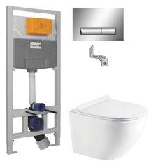 Инсталляции для унитаза Imprese 3 в 1 i8120 + Унитаз подвесной Koller Pool Round Rimless RN-0520-RW с сиденьем Soft Close