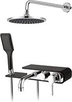 Душевой набор Q-Tap 1111 BLA скрытого монтажа, со смесителем, верхним и ручным душем, хром/черный QT1111BLA