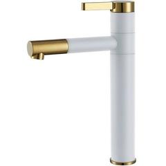 Смеситель для умывальника Rea Smart белый, золото, высокий (REA-B8400)