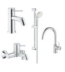 Набор смесителей для ванной и кухни Grohe BauClassic с душевым гарнитуром хром 123869K