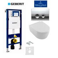 Инсталляция GEBERIT 4 в 1 Duofix 458.121.21.1 c клавишой Delta 21 + унитаз Villeroy&Boch Avento Direct Flush 5656HR01 с сидением Soft Close