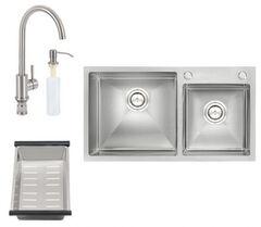 Кухонная мойка Q-Tap S7843 SET QTS7843SET со смесителем, сушкой и диспенсером
