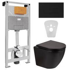 Инсталляция Volle Master Neo 201010 с черной soft-touch клавишей смыва + Унитаз подвесной Qtap Robin Rimless черный матовый QT13332141ERMB с сиденьям soft-close