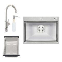 Кухонная мойка Q-Tap D6045 SET QTD6045SET со смесителем, сушкой и диспенсером