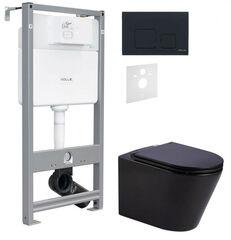 Инсталляция для унитаза Volle Master Evo 3в1 212010 с клавишей черный soft-touch + Унитаз подвесной Q-Tap Scorpio Rimless с сиденьям soft-close 212010+222113+QT1433053ERMB