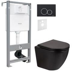 Инсталляция для унитаза Volle Master Evo 4в1 212010 с клавишей Evo черный soft-touch + Унитаз подвесной Qtap Robin Rimless черный матовый QT13332141ERMB с сиденьям soft-close