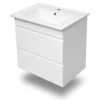 Тумба подвесная белая (2 ящика)+умывальник накладной Volle 15-600-01