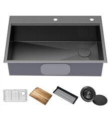 Кухонная мойка c аксессуарами Kraus Kore KWF310-33/PGM