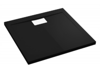 Квадратный душевой поддон в комплекте с сифоном Polimat Vegar черный 800х800 00157