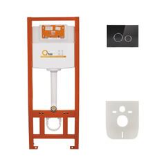 Инсталляция для унитаза 4в1( Клавиша круглая Black glass 175х245х4mm) QT0133M425V1163GB