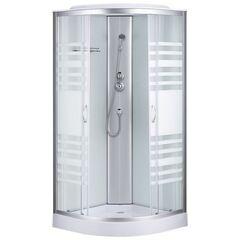 Душевой бокс Sansa 7790A-40 (90x90 см), профиль сатин, стекло прозрачное-lines, заднее стекло белое