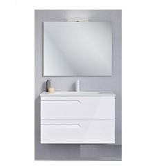 Комплект мебели для ванной: 125622 тумба под раковину 80 см + 123 343 раковина 80 см + 121517 зеркало + 123395 LED подсветка, белая