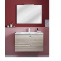 Комплект мебели для ванной Vitale 80 125626 тумба под раковину 80 см+123343 раковина 80 см+121517 зеркало+123395 LED подсветка, светло-серая