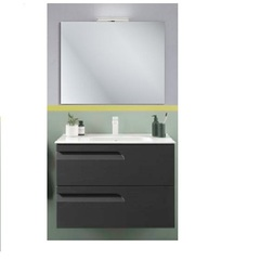 Комплект мебели для ванной Vitale 80 125624 тумба под раковину 80 см+123343 раковина 80 см+121517 зеркало+123395 LED подсветка, серая