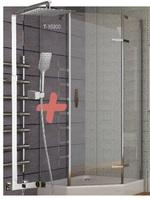 Душевая кабина пятиугольная 90*90*205 см, 599-535+T-15300 поддон (15 см), распашная, стекло прозрачно+ODLOVE система душевая (смеситель для душа)