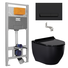 Комплект инсталляция 3 в 1 Imprese i8122B + унитаз Volle AMADEUS 13-06-055Black с крышкой Soft Close Slim