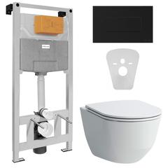 Унитаз PRO Rimless с сиденьем Slim+VOLLE MASTER NEO инсталляция для унитаза пневм. 3в1+ALTO NEO клавиша смыва черная, soft-touch