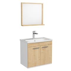 Комплект мебели Rozzy Jenori First 60 с тумбой и умывальником + зеркало 54х50 белый/дуб (RJ20600OK)