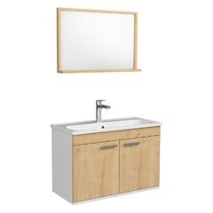 Комплект мебели Rozzy Jenori First 80 с тумбой и умывальником + зеркало 74х50 белый/дуб (RJ20800OK)