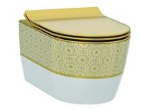 Унитаз подвесной (чаша) белый/декор золото 3104-2616-1101 IDEVIT