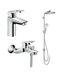 Набор смесителей LOGIS LOOP + Showerpipe Reno (71151000+71244000+27270000)
