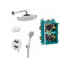 Душевая система Cisal Nuova City CV0KX010.21 верхний душ + ручной душ 3 режима + внутренняя часть без термостата + внешняя часть, хром