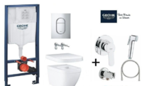 Инсталляция Grohe Rapid SL 39504000 + унитаз подвесной Grohe EURO CERAMIC 3932800H с кришкой Soft Close 39330001 + Гигиенический душ Grohe Bau Edge 28512001