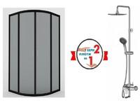 Душевая кабина AM.PM Joy Round 100 W95G-301-100CM + система AM PM Like ShowerSpot с изливом F0780900